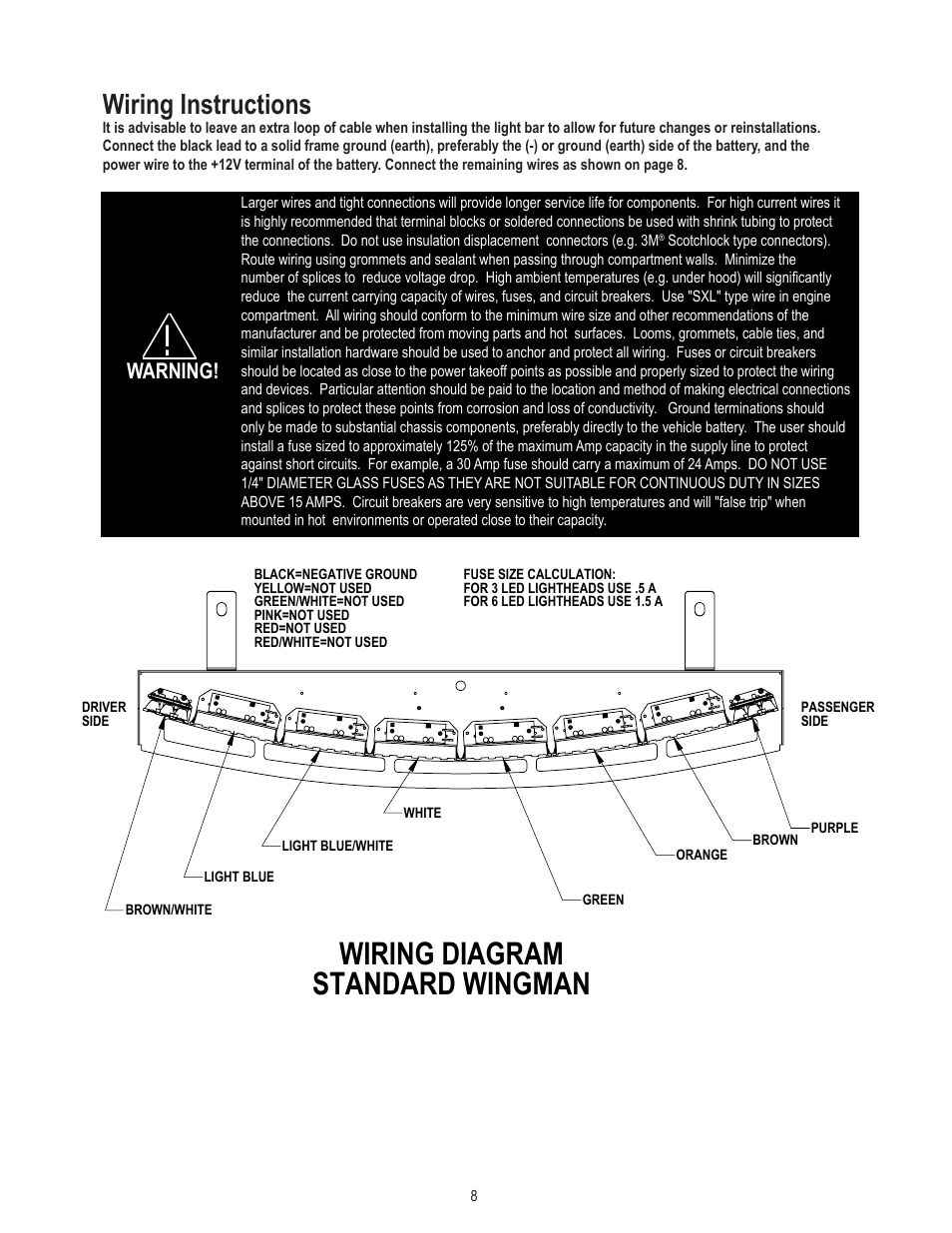 Code 3 Wingman Wiring Diagram Complete Diagrams Mx7000 Light Bar Standard Instructions Warning Rh Manualsdir Com Wire Switch
