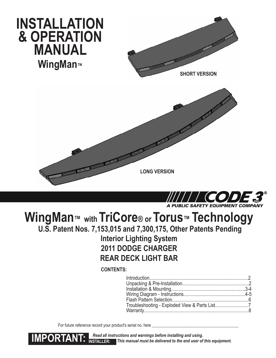 Code 3 Wingman Wiring Diagram Complete Diagrams Mx7000 Light Bar With Tricore Torus For Charger User Manual 8 Pages Rh Manualsdir Com Lp6000