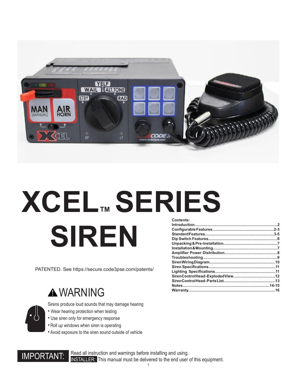 Code 3 Xcel User Manual