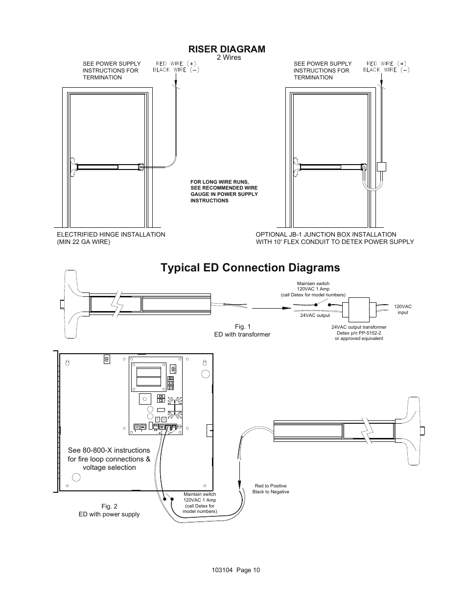 [DIAGRAM_1CA]  Typical ed connection diagrams, Riser diagram | Detex V40 ER User Manual |  Page 10 / 13 | Detex Wiring Diagrams |  | Manuals Directory