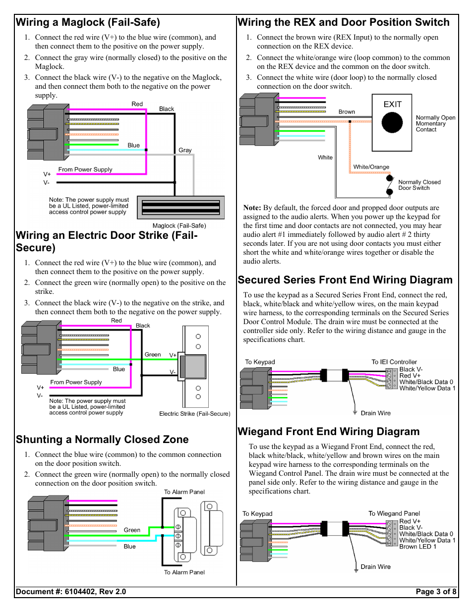 [SCHEMATICS_4UK]  Wiring a maglock (fail-safe), Wiring an electric door strike (fail-  secure), Shunting a normally closed zone | Detex DTX-4100 User Manual |  Page 3 / 8 | Detex Wiring Diagrams |  | Manuals Directory