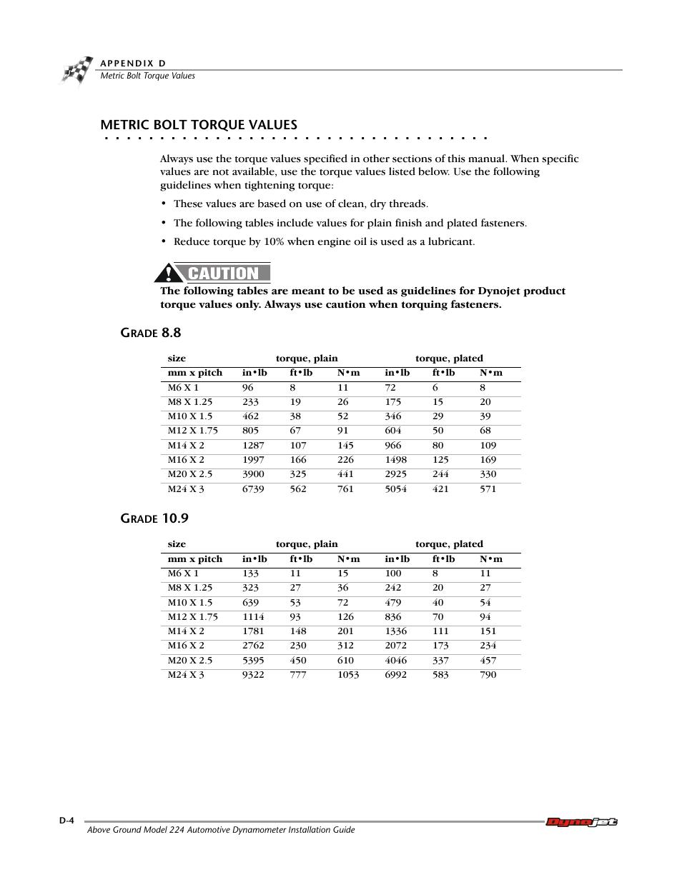 Metric bolt torque values, Grade 8 8, Grade 10 9 | Dynojet