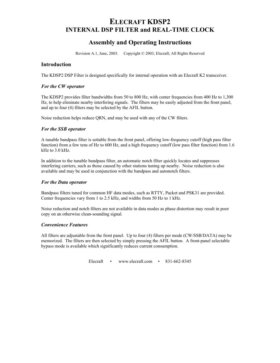 Elecraft KDSP2 Manual User Manual | 50 pages
