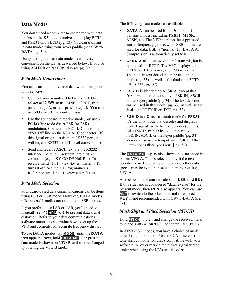 Data modes | Elecraft K3 Owner's Manual User Manual | Page 31 / 83