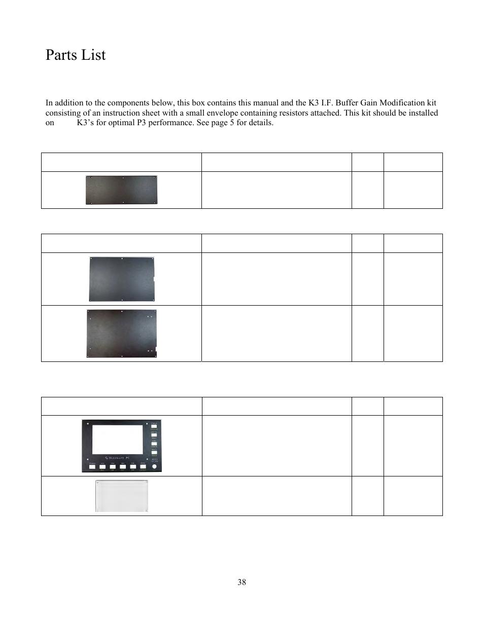 Parts list | Elecraft P3 High-Performance Panadapter Manual User