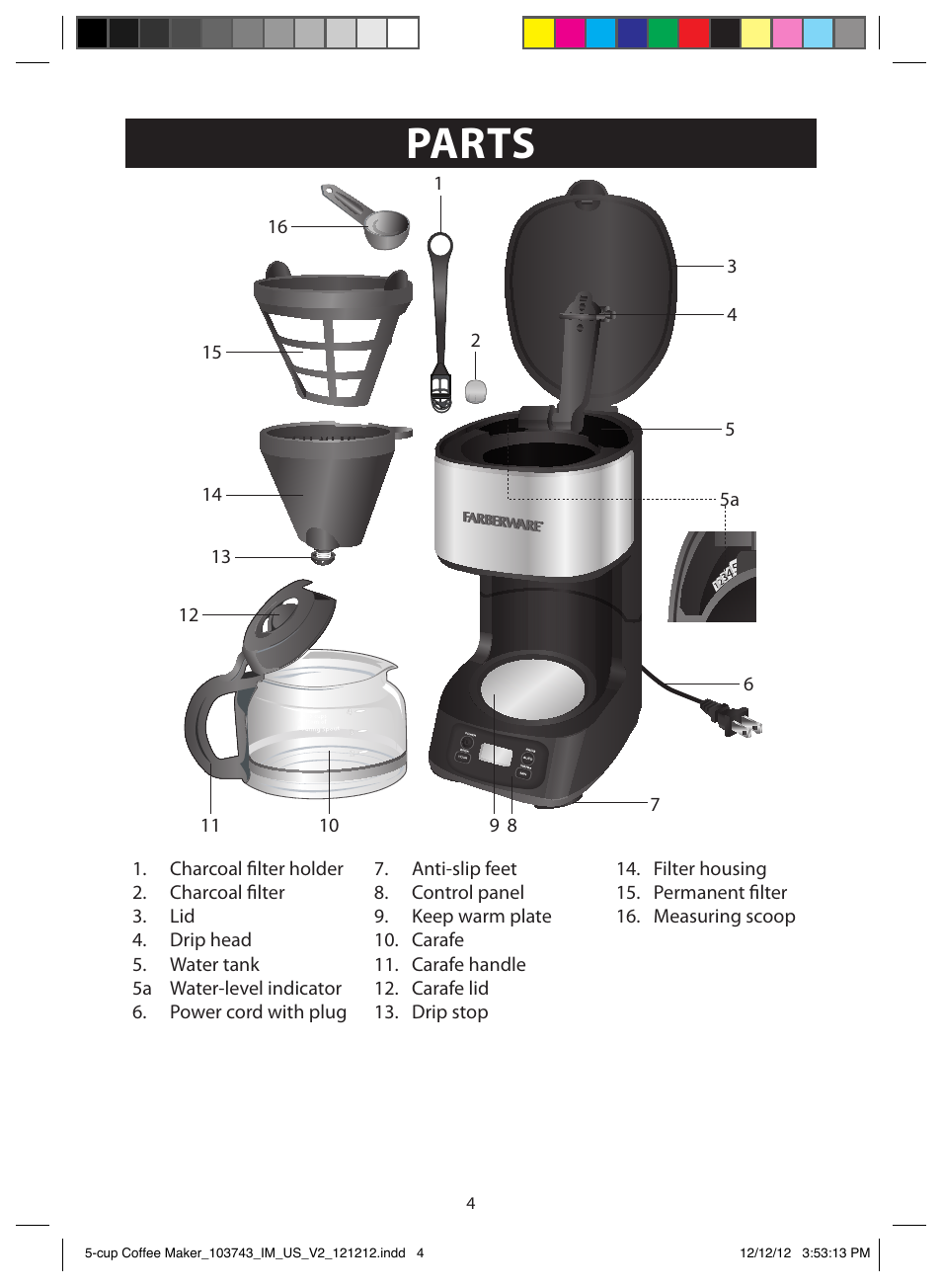 Parts FARBERWARE 103743 5 Cup Coffee Maker User Manual Page 4 / 15
