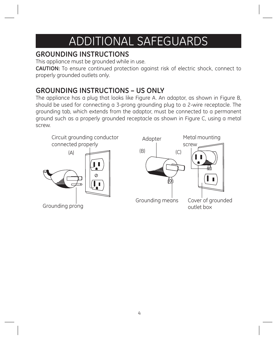 Additional Safeguards Grounding Instructions 3 Prong Grounded Plug Wiring Diagram Us Only Farberware 104557 4 In 1 Grill User Manual Page 28