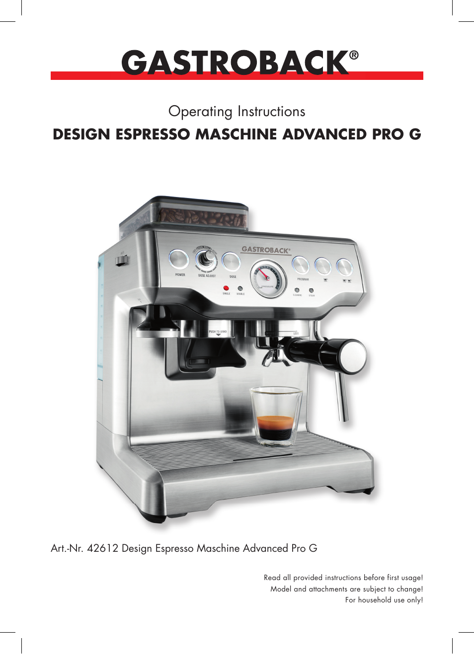 gastroback 42612 design espresso machine advanced pro g user manual 38 pages. Black Bedroom Furniture Sets. Home Design Ideas