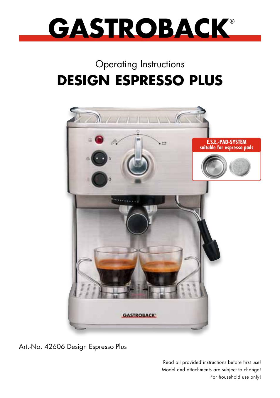 gastroback 42606 design espresso plus user manual 30 pages rh manualsdir com Manual Espresso Press Breville Coffee Maker and Espresso Combo