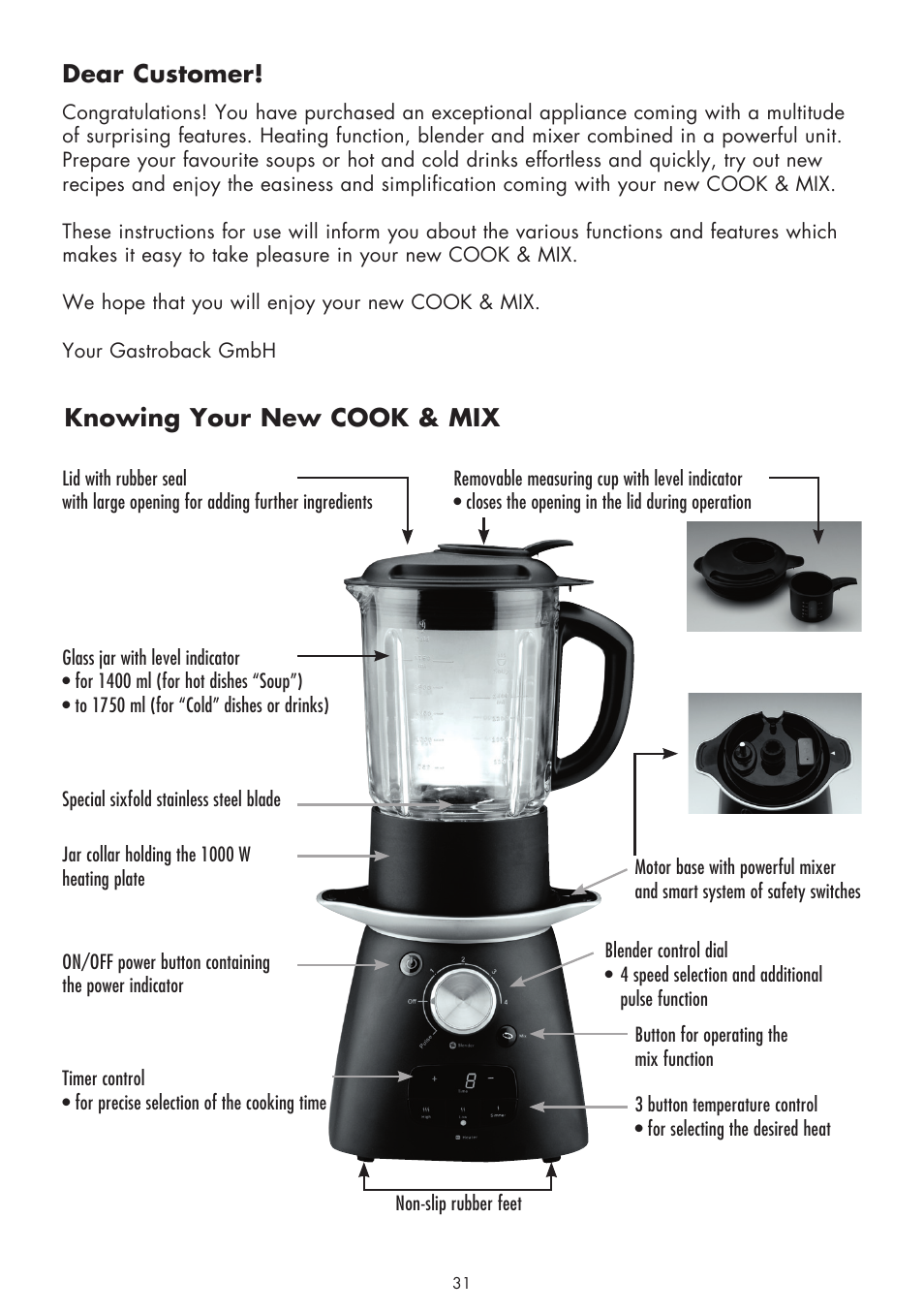 Dear customer, Knowing your new cook & mix | Gastroback 41019 - Cook & Mix  User Manual | Page 3 / 28