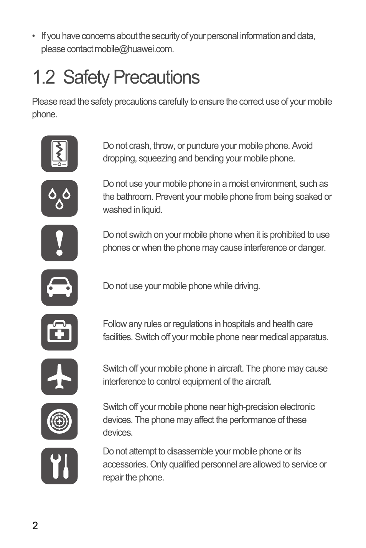2 safety precautions | Huawei U8180 User Manual User Manual | Page 5 / 61