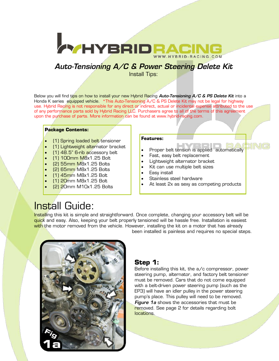 Hybrid Racing Hr Autotensioning Ac And Power Steering Removal Kit Detailed A C Compressor Bracketry Installation Diagram User Manual 6 Pages