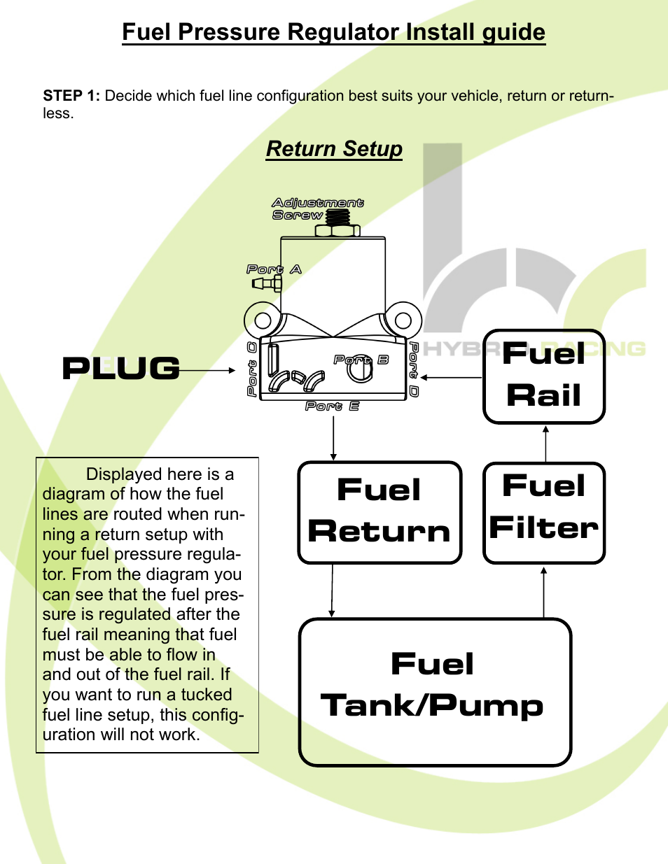 Step 1 Hybrid Racing Hr Unibody Fuel Pressure Regulator User Filter Install Manual Page 2 7