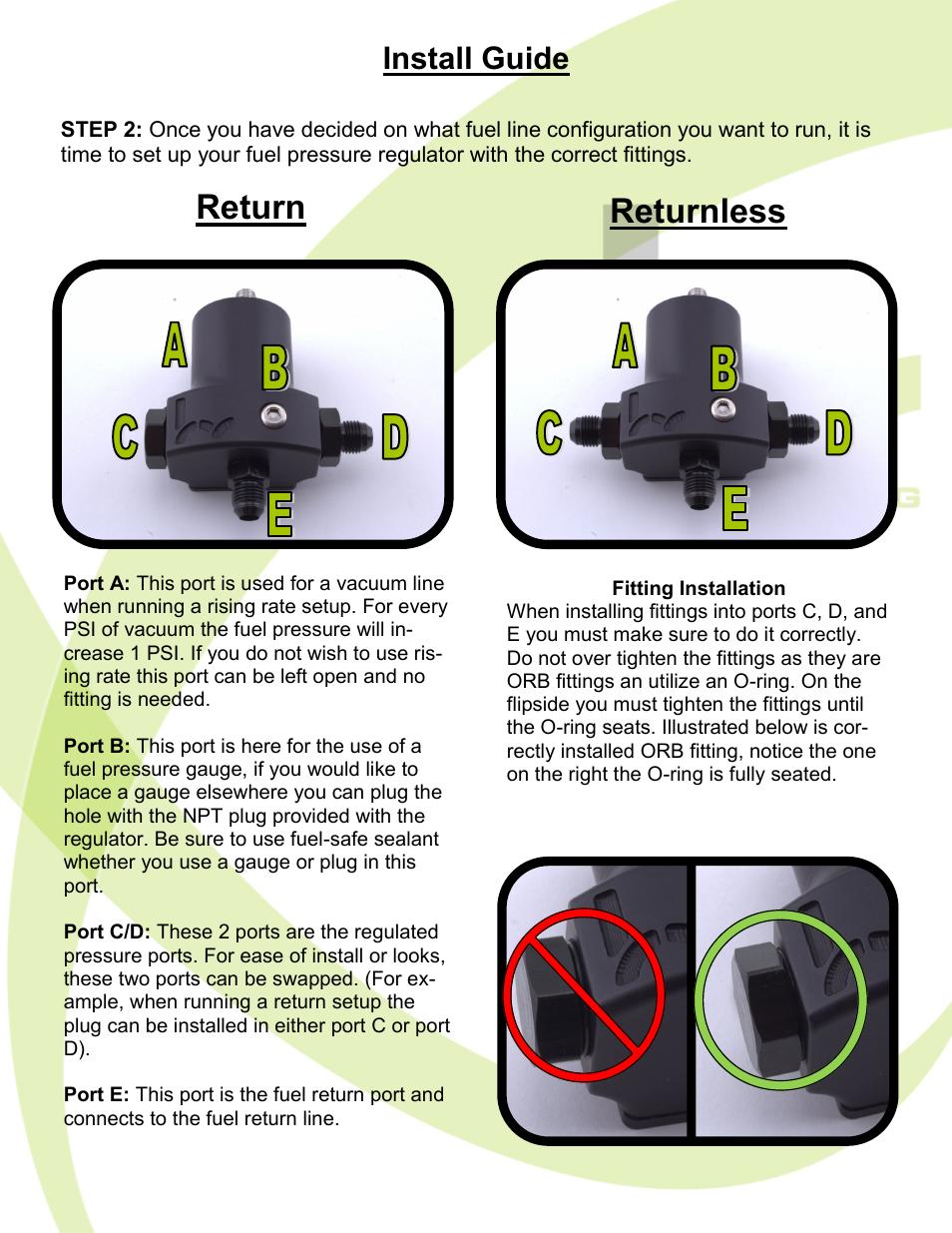 Return Returnless Install Guide Hybrid Racing Hr Unibody Fuel Pressure Regulator User Manual Page 4 7