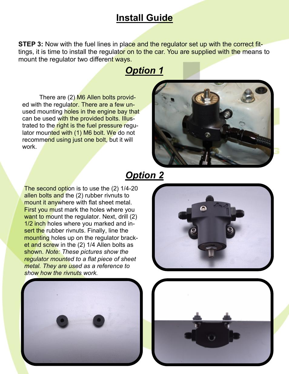 Install Guide Option 1 2 Hybrid Racing Hr Unibody Fuel Pressure Regulator User Manual Page 5 7