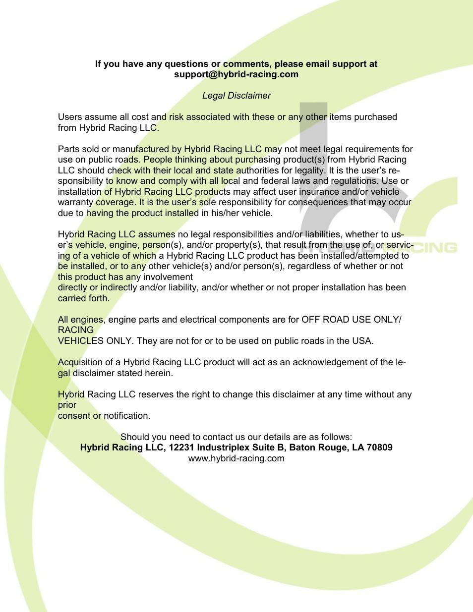 Hybrid Racing Hr Unibody Fuel Pressure Regulator User Manual Page 7