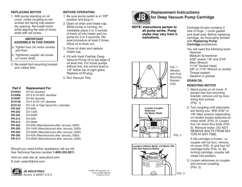 Just Better Deep Vacuum Pump Cartridge User Manual | 2 pages