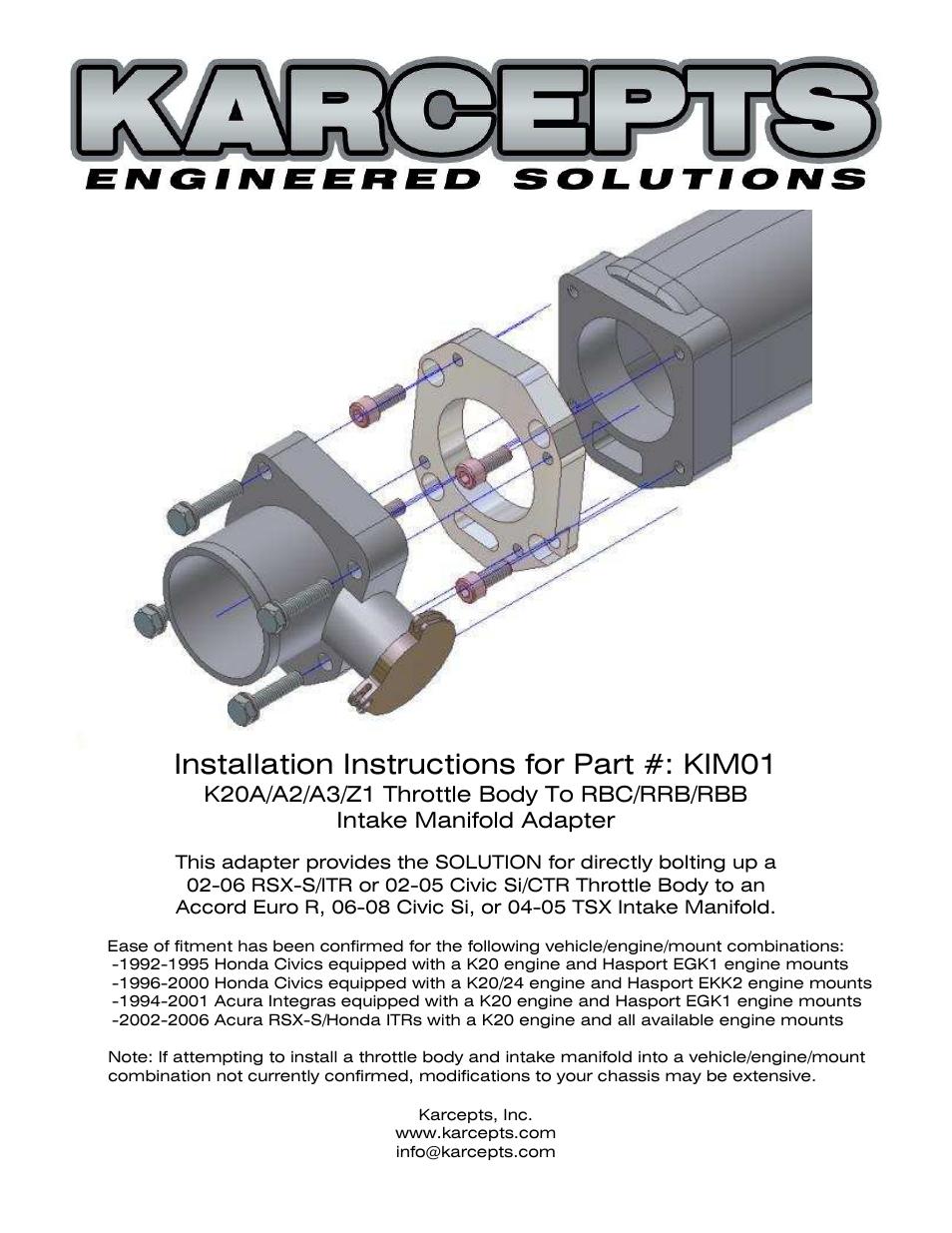 Karcepts Kim01 User Manual 13 Pages 02 Civic Si Engine Diagram