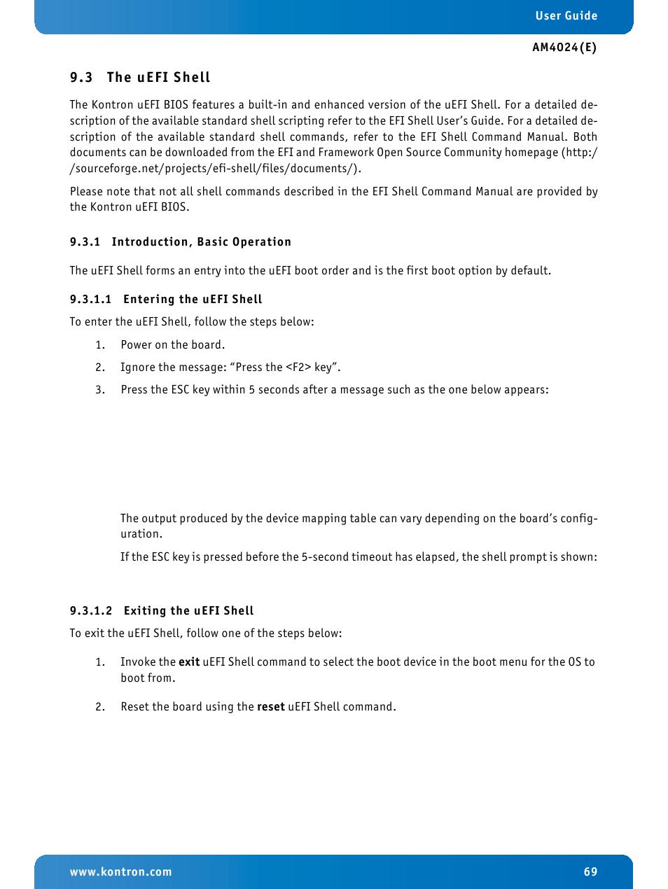 3 the uefi shell, 1 introduction, basic operation, 1