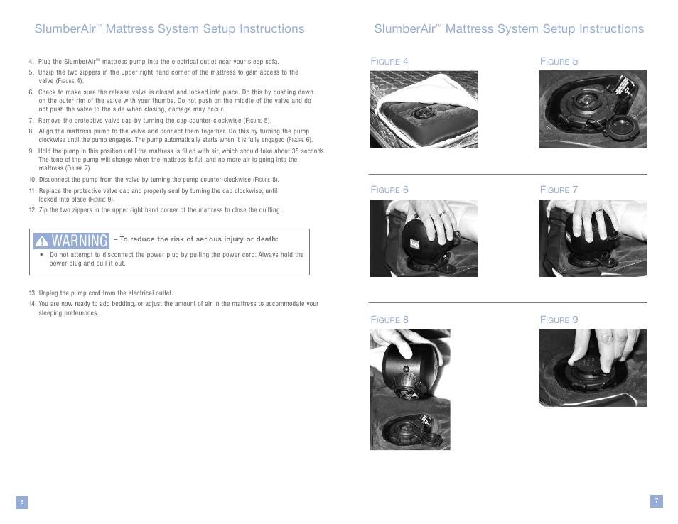 Warning Slumberair Mattress System Setup Instructions La Z Boy User Manual Page 4 16