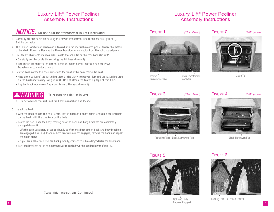Notice Warning Luxury-lift | Power recliner assembly instructions luxury- lift  sc 1 st  manualsdir.com & Notice Warning Luxury-lift | La-Z-Boy Luxury-Lift Power Recliner ... islam-shia.org