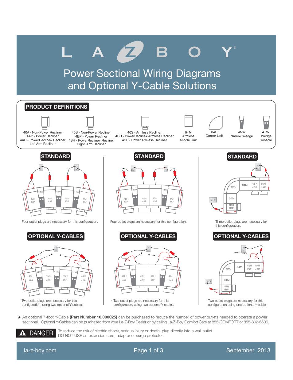 La Z Boy La Z Time Powerrecline Sectional Optional Wiring