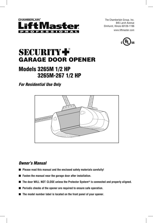 Liftmaster 1 2 Hp Security Plus Garage Door Opener Manual