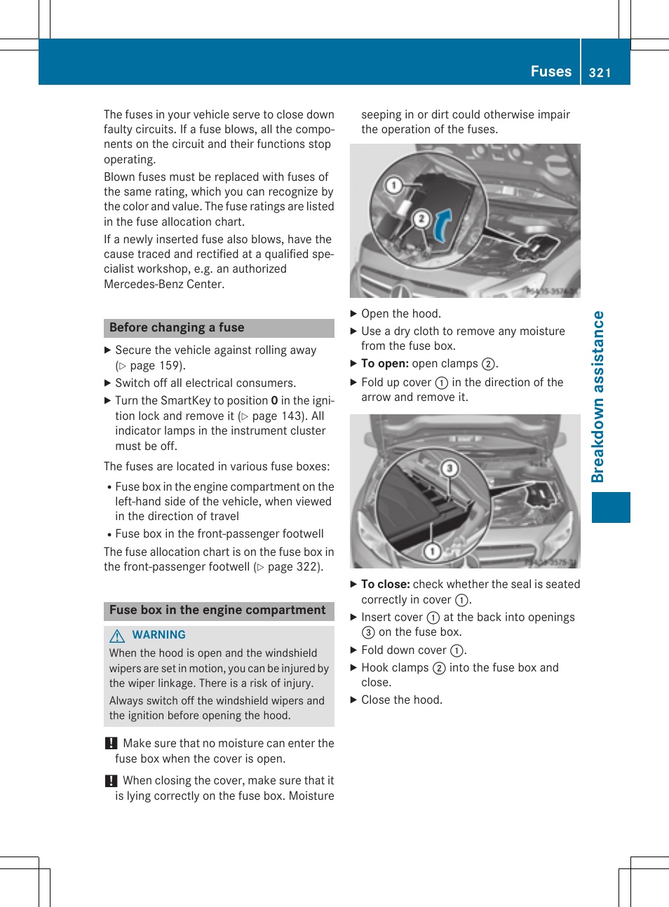 Breakdown assistance fuses mercedes benz gla class 2015 for Mercedes benz user manual
