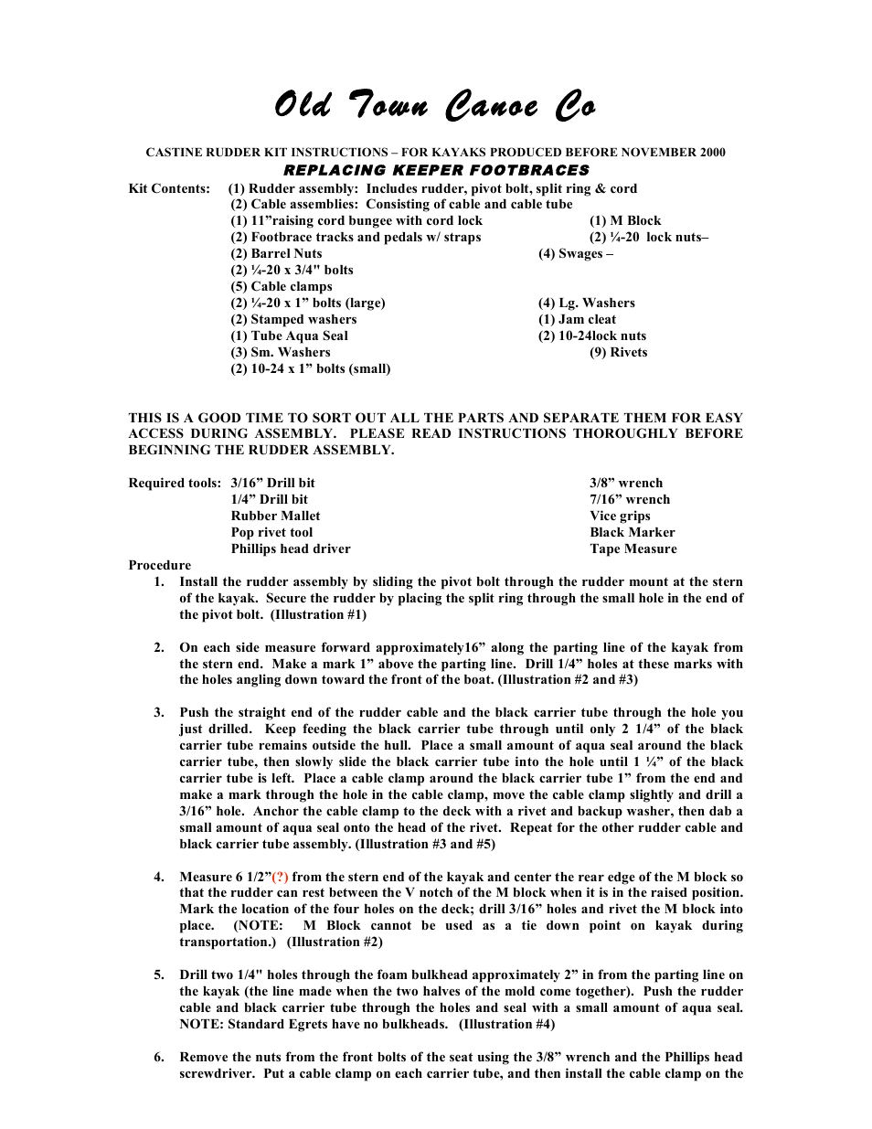 Old Town Castine Rudder User Manual | 4 pages