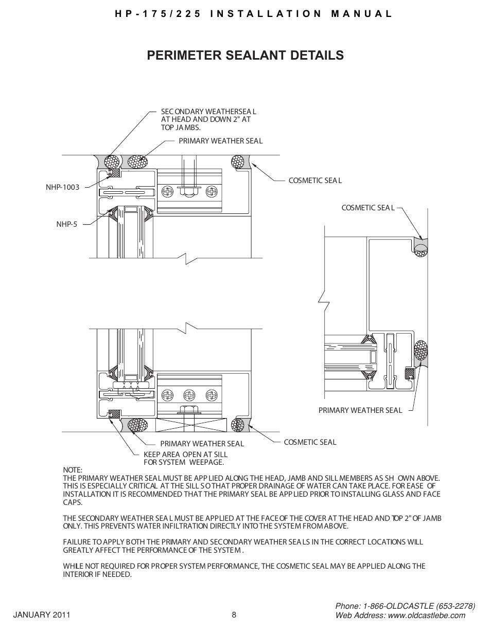 Hp-175-225 08, Perimeter sealant details | Oldcastle