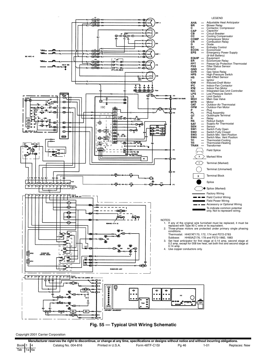 carrier 48tfe008 014 page46 fig 55 typical unit wiring schematic carrier 48tfe008 014 field controls power venter wiring diagram at edmiracle.co