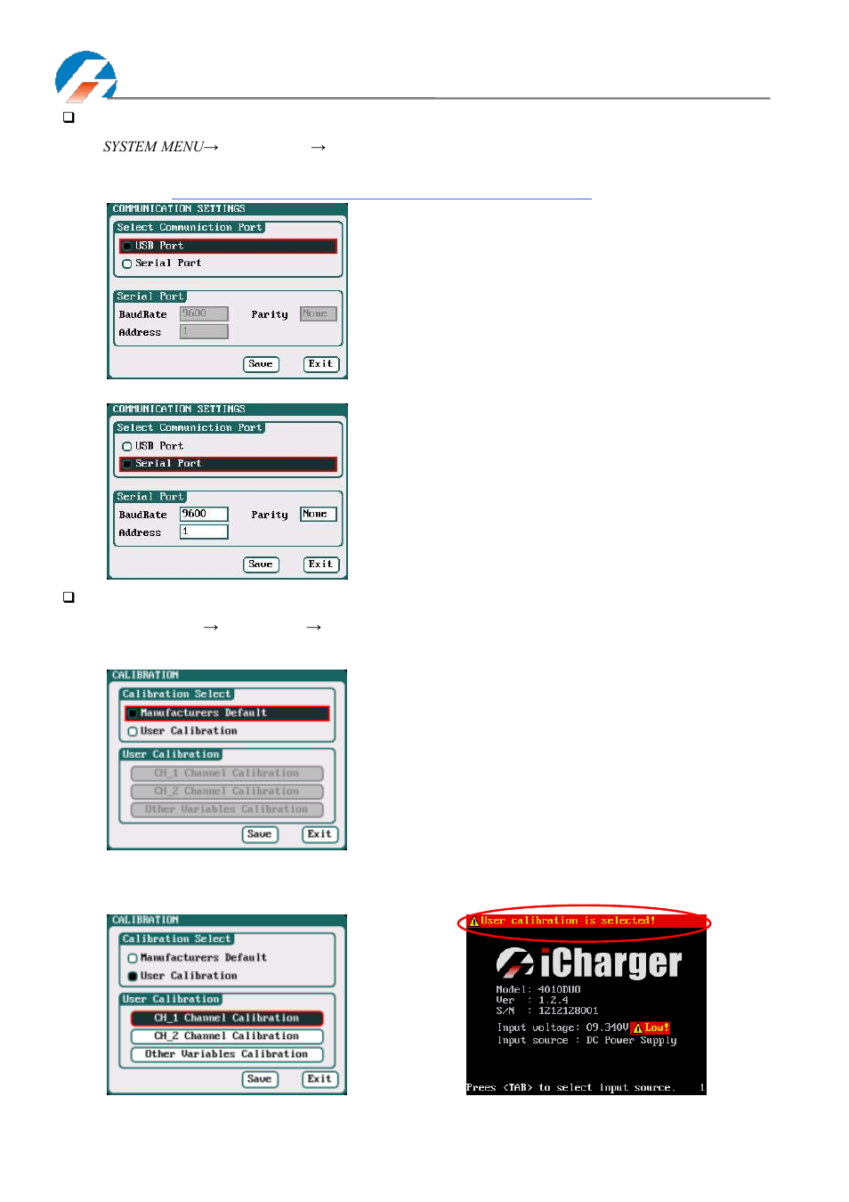Communication settings - calibration | ProgressiveRC