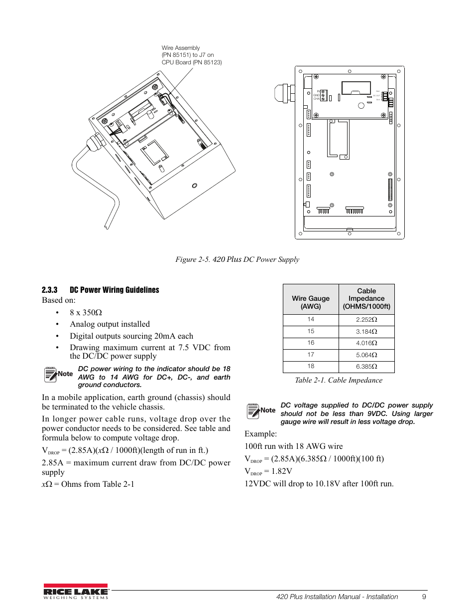 3 Dc Power Wiring Guidelines Rice Lake Hmi Diagram 420 Plus Digital Weight Indicator Installation Manual User Page 13 60