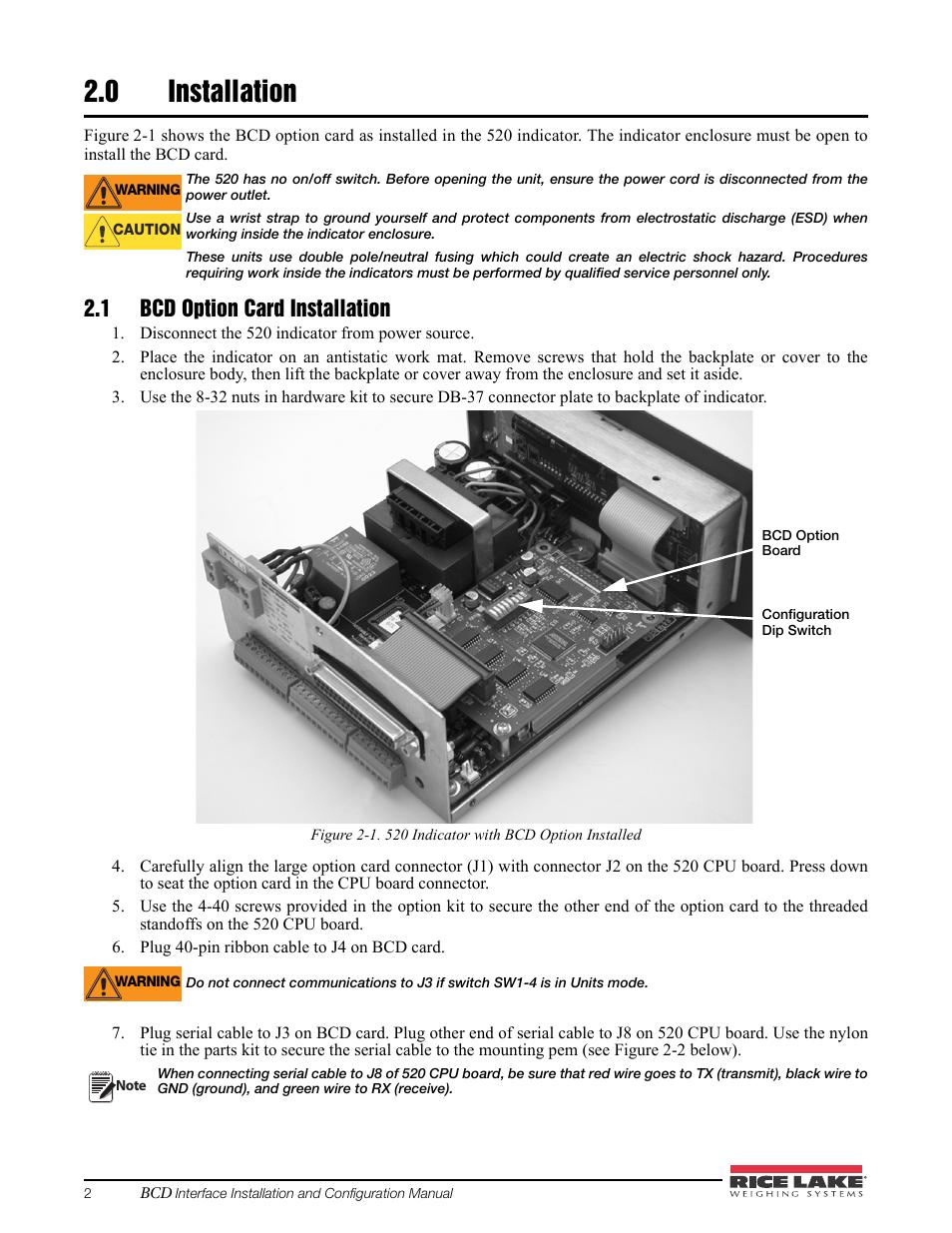 0 installation, 1 bcd option card installation, Installation | Rice ...