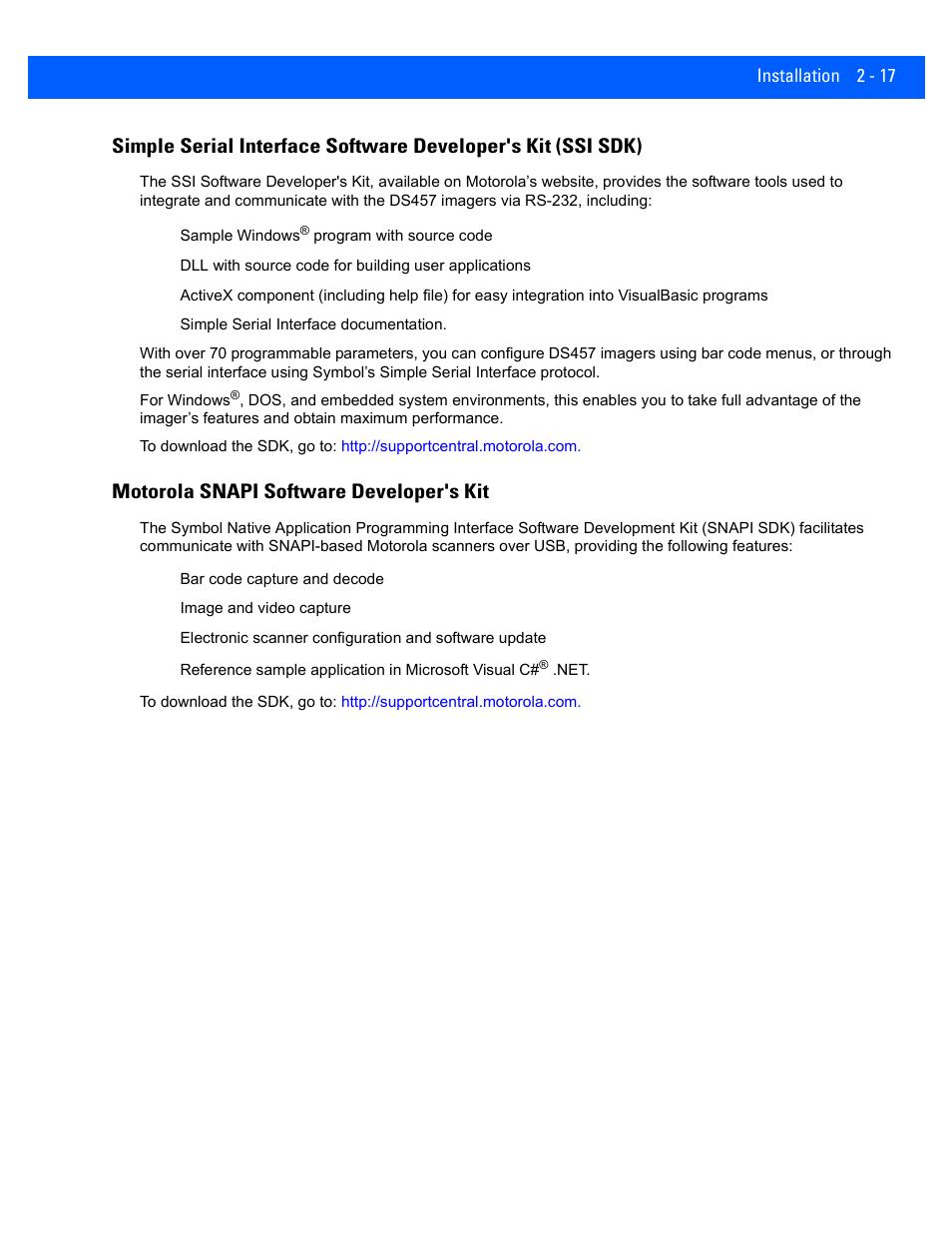 Motorola snapi software developer's kit, Motorola snapi software