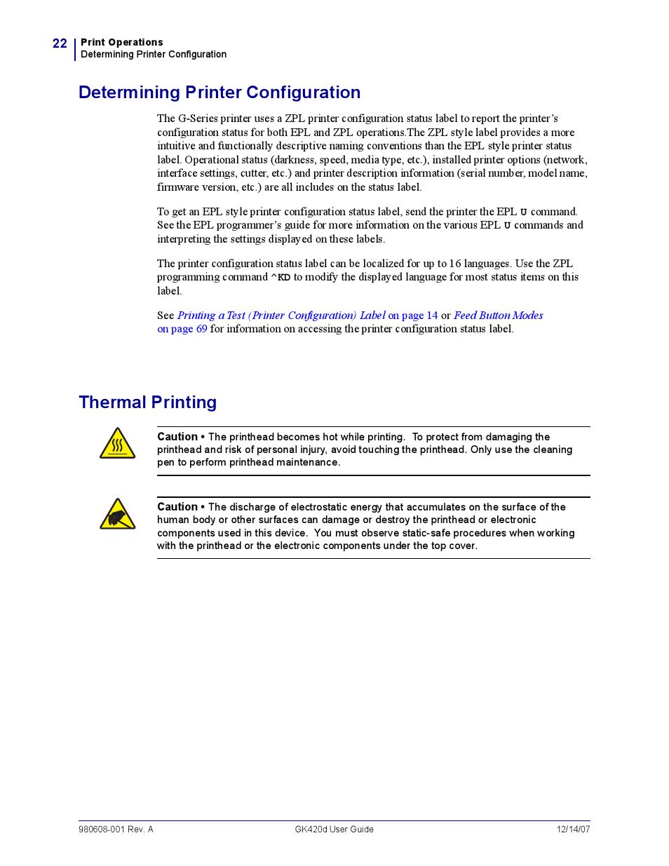 Determining printer configuration, Thermal printing | Rice