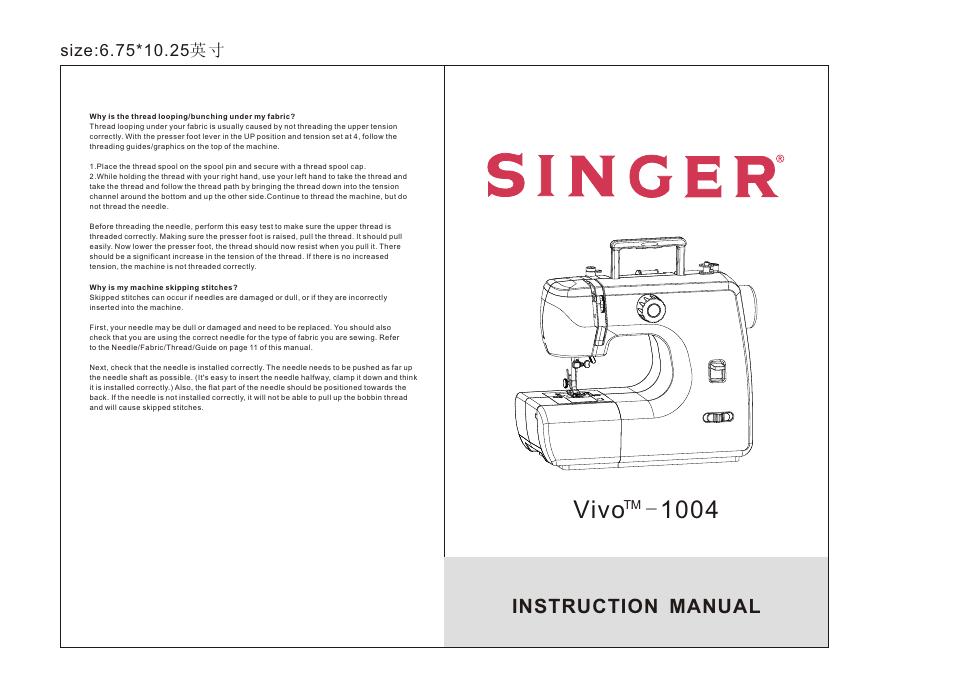 SINGER 40 VIVO User Manual 40 Pages Magnificent Vivo Singer Sewing Machine