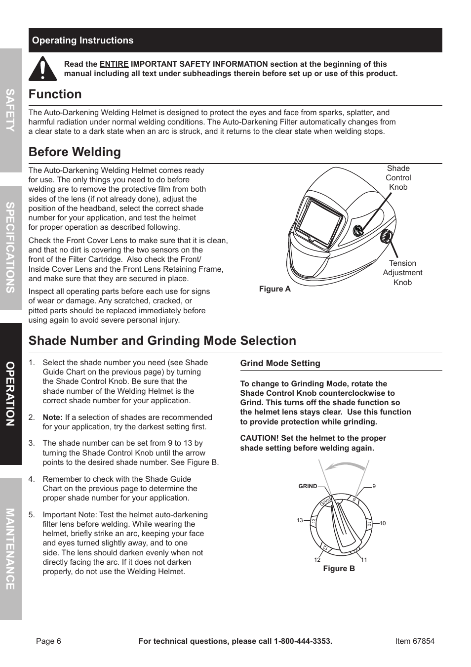 Function Before Welding Shade Number And Grinding Mode Selection Chicago Electric Auto Darkening Helmet 67854 User Manual Page 6 12