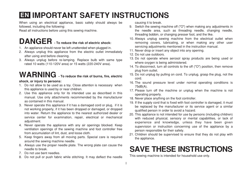 Danger Save These Instructions Warning Important Safety