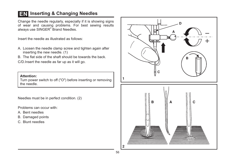 Inserting Changing Needles SINGER 40S TALENT Instruction New How To Change Needle On Singer Sewing Machine