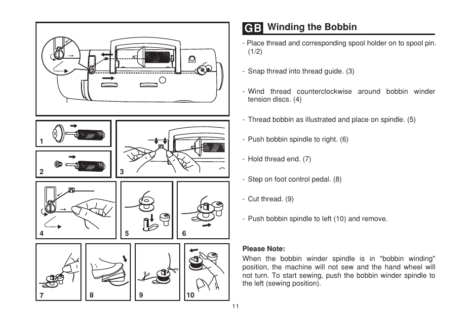 Winding The Bobbin SINGER 40 SIMPLE Instruction Manual User Enchanting Singer Simple Sewing Machine Manual 2263