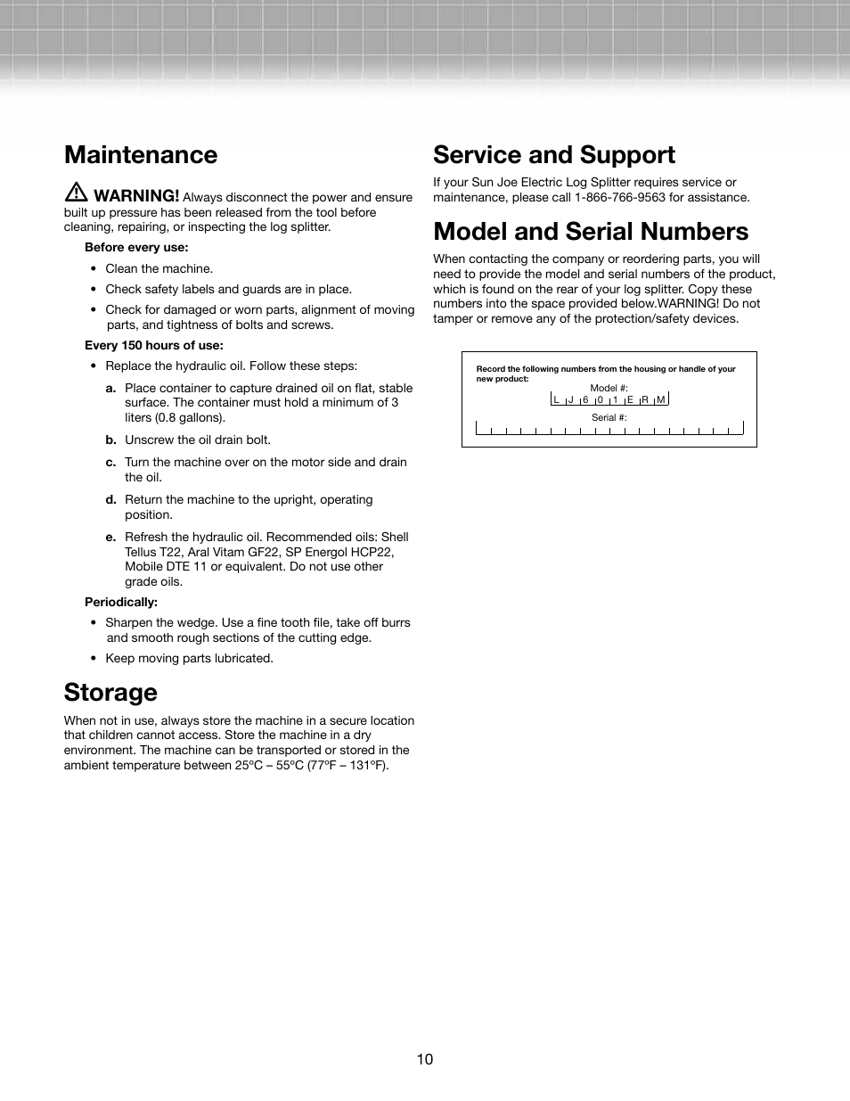 Maintenance M Storage Service And Support Snow Joe Lj601e Rm Logger 15 Amp 5 Ton Electric Log Splitter User Manual Page 10 12