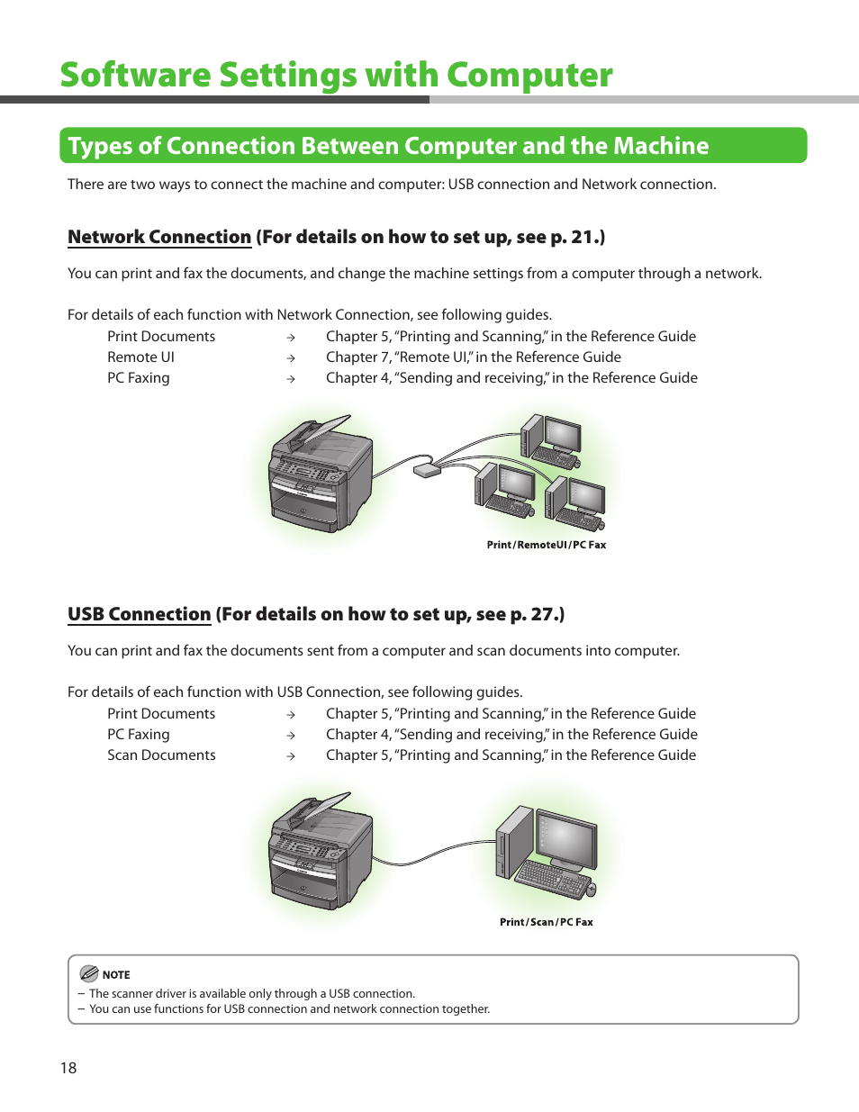 Software settings with computer, Network connection, Usb connection