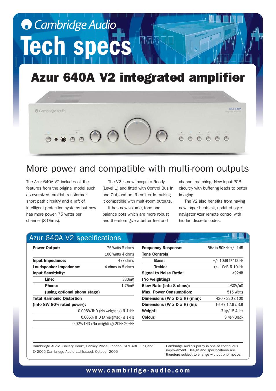 cambridge audio azur 640a v2 user manual 2 pages Instruction Manual Book Instruction Manual Example