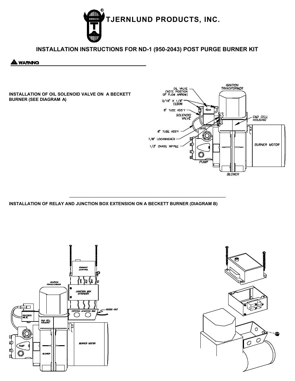 Tjernlund 950-2043 ND-1 Post Purge Burner Kit 8504004 Rev 0196 User on beckett afg burner transformer, webster transformer, test on oil burner transformer, fuel oil burner transformer, beckett oil burner transformer,