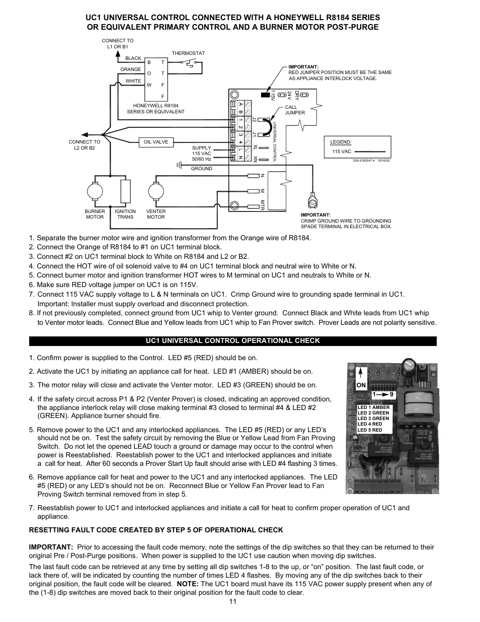 Tjernlund Uc1 Universal Control Version X04 8504107 Rev C 02 04 Honeywell R8184g Wiring Diagram User Manual Page 12 15