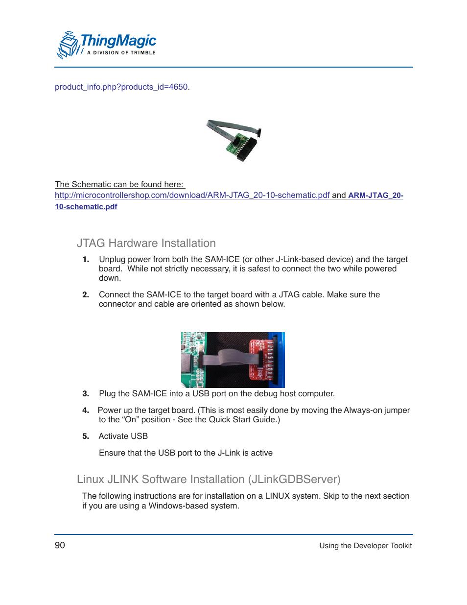Jtag hardware installation, Linux jlink software