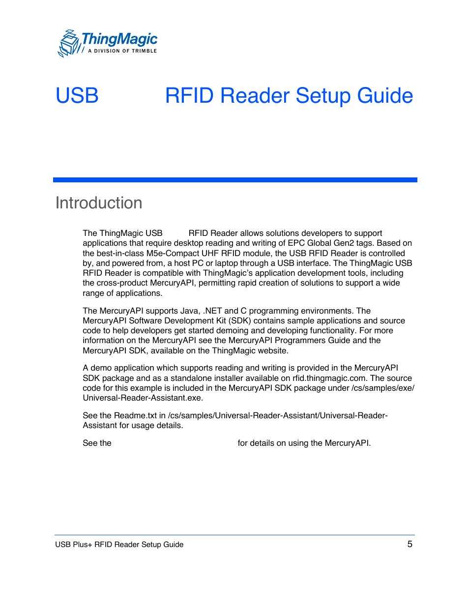ThingMagic USB Plus+ RFID Reader User Manual | Page 5 / 16