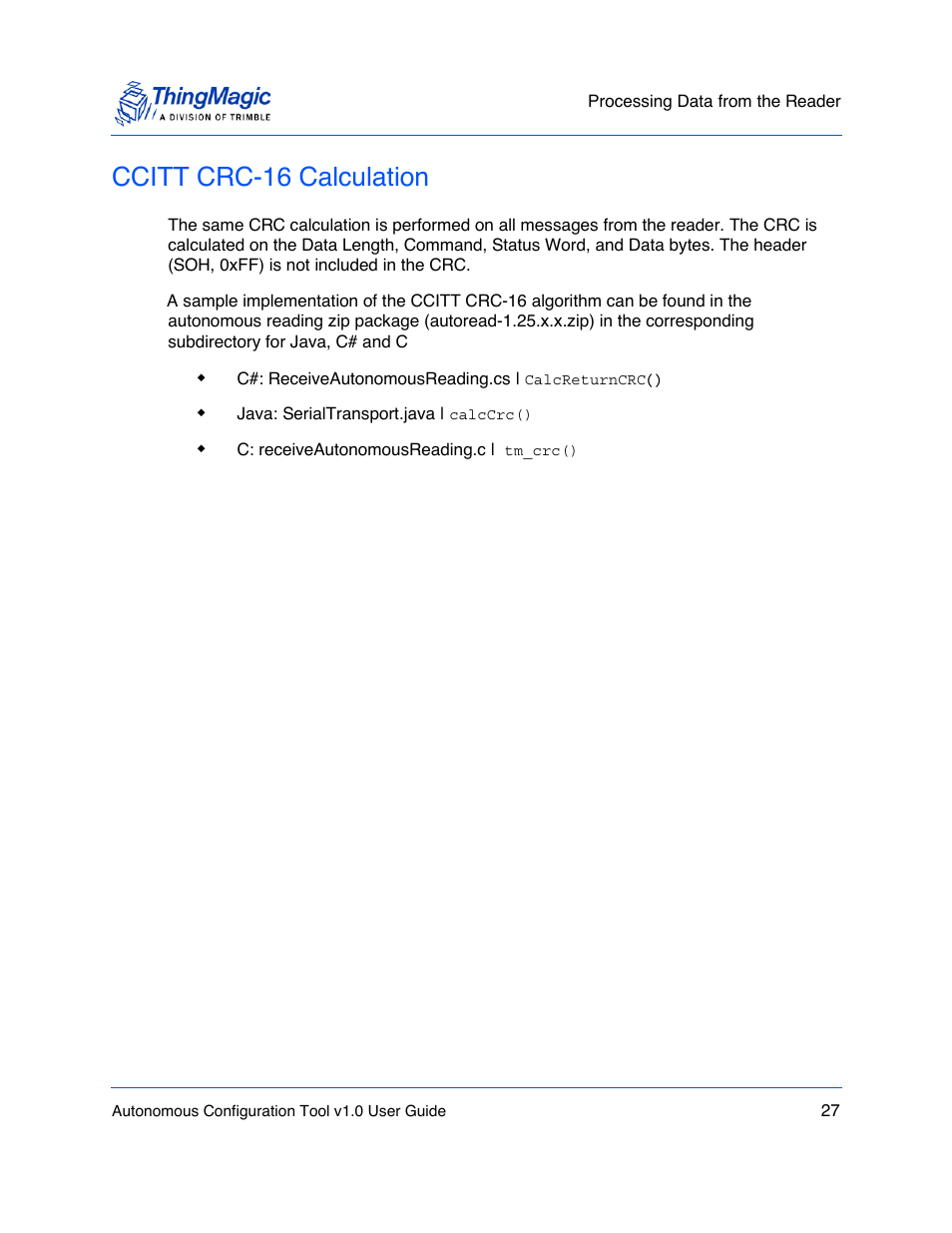 Ccitt crc-16 calculation, Ccitt crc-16, Calculation | ThingMagic