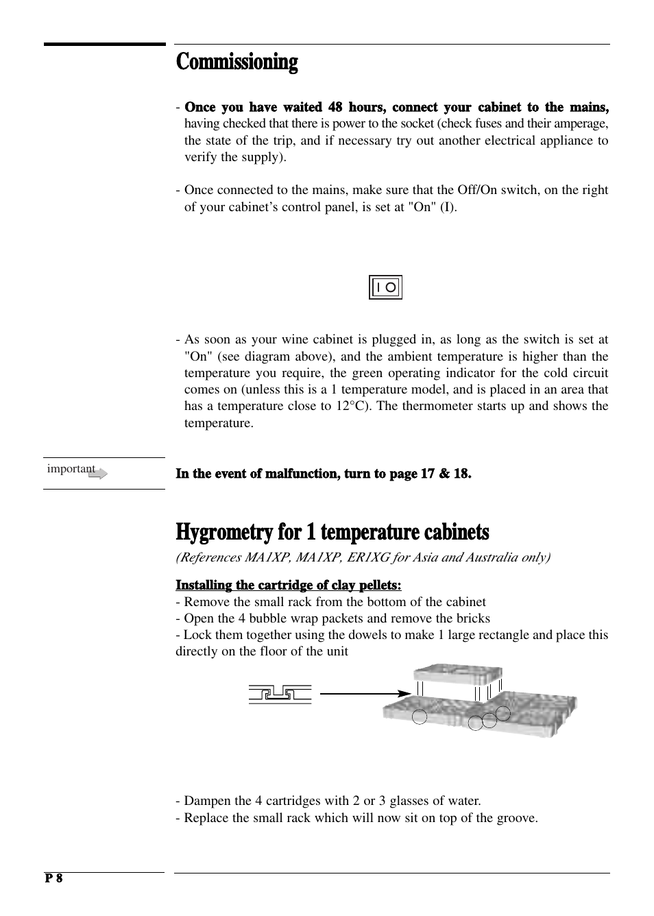 Commissioning Hygrometry For 1 Temperature Cabinets Vintage Diagram Black Is In Check 2 Double Cellars Transtherm Castel Glass Door User Manual Page 8 21